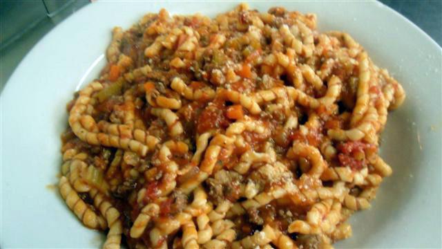 Fresh Rigatoni With Bolognese Sauce Recipe — Dishmaps